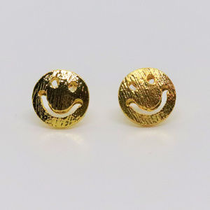 Smiley Gold Plated Earrings